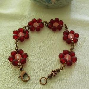 Copper WireWrapped Flower  Bracelet